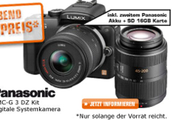 Panasonic Lumix DMC-G3 W2EG-K DZ Kit (Quelle: Saturn)